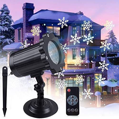 Proiettore Luci Natale LED,VIFLYKOO Luce di Caduta Della Neve Romantico Fiocco di Neve IP65 Illuminazione Rotante Faretti con...