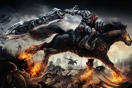 Darksiders Game Figur Poster Flaming Pferd Schwert Headless Man Riding 24x 36