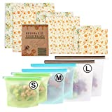 Reusable Silicone Food Storage Bags & Reusable Beeswax Wraps, Food...