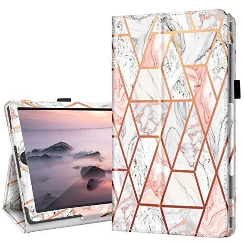 "Fingic Galaxy Tab S6 Lite 10.4"" Case with Pen Holder, Rose Gold Marble Slim PU Leather Trifold Stand Auto Sleep/Wake Folio Cover for 2020 Samsung Galaxy S6 Lite Tablet Model SM-P610/P615 - Rose Gold"