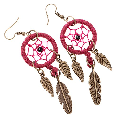 dailymall Las Mujeres de Oro Tibetano Bohemia Dream Catcher Cuelgan Los Pendientes Colgantes de La Pluma - Vino Rojo