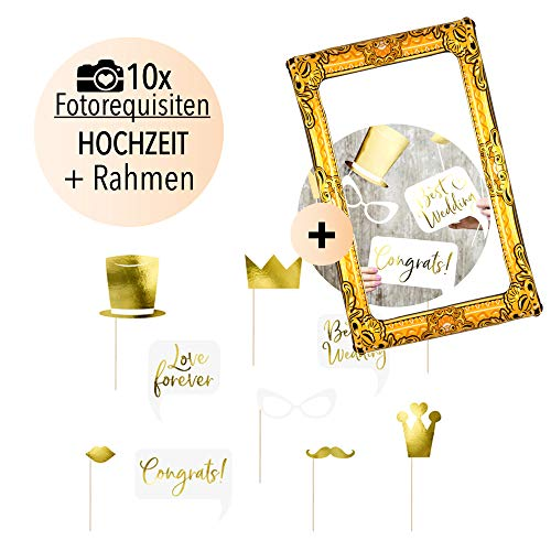 Bruiloft Photo Booth Set goud | Wedding Party rekwisieten incl. Premium opblaasbare fotolijst | Fotorekwisieten & selfie lijst 80 x 60 | Ideaal voor fotoautomaat, fotobox, selfies, fotosessie, JGA