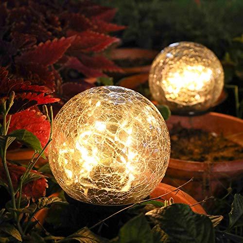 ACECITY Lámpara solar de bola de cristal de grieta, luz de césped...