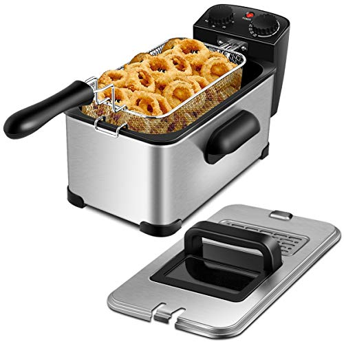 ARLIME Deep Fryer, 1700W Electric Stainless Steel Deep Fryer with 3.2 Quart Oil Container & Lid w/View Window, Removable Basket, Adjustable Temperature and Timer