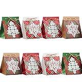 NIMU - Confezione da 12 sacchetti regalo per feste di Natale con design speciale, assortiti a tema natalizio, riutilizzabili, per regali, caramelle, confezione regalo, ottima idea regalo