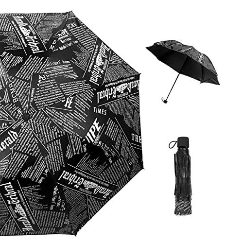 Paraguas plegable con diseño de diario para hombre, pintura al óleo, revestimiento negro, cortavientos, lluvia para hombres y mujeres, paraguas plegable para exterior