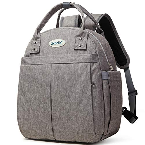 Insulated Lunch Bag Cooler Backpack SCORLIA Convertible Lunch Tote with Side pockets Tall Reusable lunch Box Container with Drinks Holder for Girl Kid School Office Beach Picnic-Grey