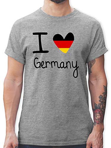 Fußball-Europameisterschaft 2021 - I Love Germany - L - Grau meliert - i Love Germany t-Shirt - L190 - Tshirt Herren und Männer T-Shirts