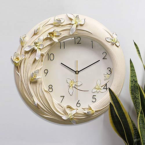 XFSE Reloj de Pared Pintado A Mano Las Flores Amarillas 3D Alivio del Reloj De Pared De Silencio Creativo De Lujo Americana Moderna Técnica De Las Resinas Decoración For El Hogar Europeos 42 * 41cm