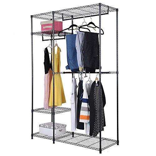 4 Shelves Garment Rack Heavy Duty Clothes Rack Portable Wire Shelving Clothing Racks with 3 Hanging Rod Freestanding Closet Metal Storage Rack Armoire Wardrobe Closet Black
