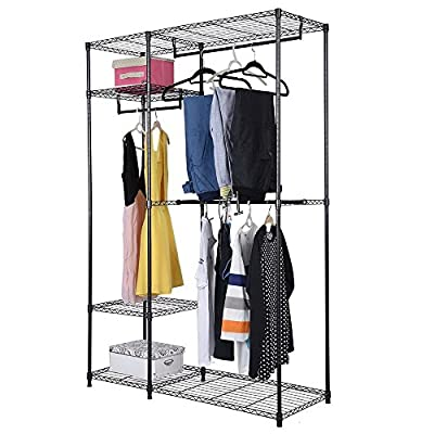 4 Tiers Clothing Storage Rack Black Wardrobe Cl...