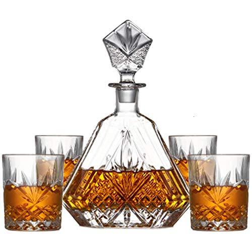 xxz Decanter in Whisky di Cristallo Lavorato, con Tappo Decorato, 4 Bicchieri da Cocktail squisiti, per liquore Scotch Bourbon o...