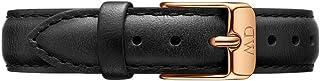 Daniel Wellington Petite Sheffield, Montre Noir/Or Rose Bracelet, 12 mm, Cuir, pour Femmes