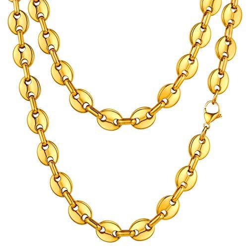 FaithHeart 10.5mm breit 18k vergoldete Kaffebohne Halskette 28 Zoll Halskette ideales als Alltag Schmuck