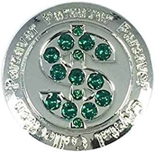 Parsaver Swarovski Crystal Golf Ball Markers - with Hat Belt Clip - Dollar $ Ball Marker II - Unmatched Brilliance and Sparkle on The Greens. A Great Golf Gift idea for Him and Hers