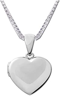 Girl's Classic Sterling Silver Classic Heart Locket Necklace