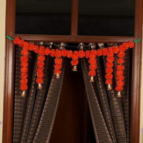 TIED RIBBONS Künstliche Ringelblume Flauschige Blumen Girlanden Bandanwar Toran (105 cm x 36 cm) - Diwali Dekoration Artikel für Zuhause Wand Tür Dekor