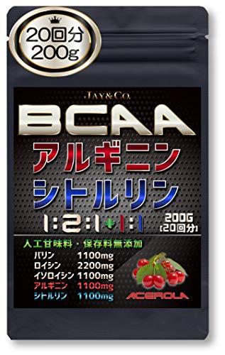JAY&CO. 無添加人工甘味料 BCAA + アルギニン & シトルリン 国内製造 (アセロラ, 200g)