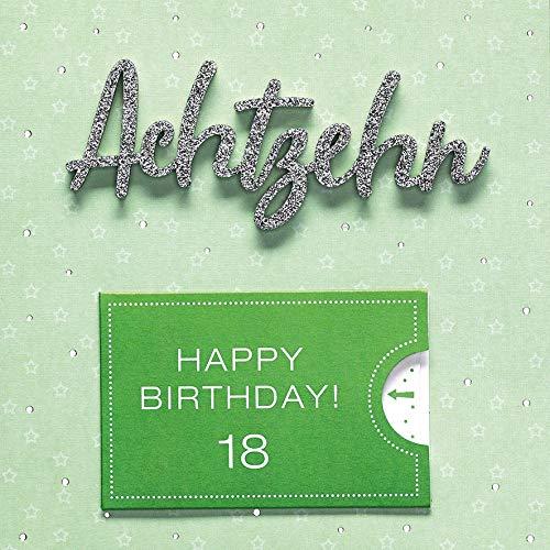 Geburtstagskarte zum 18. Geburtstag Lettering Surprise - Achtzehn - 15 x 15 cm