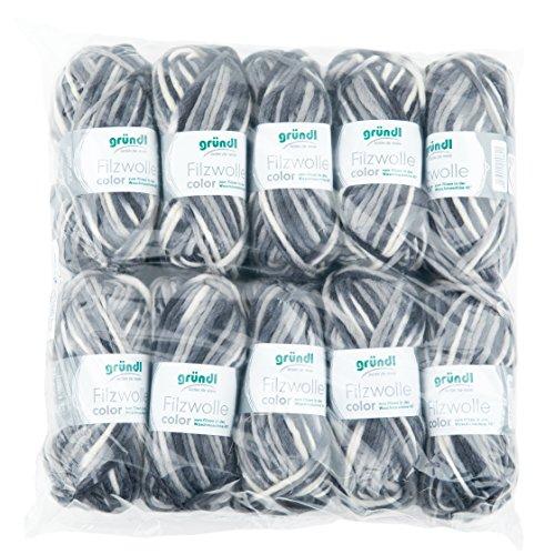 Gründl Color, Vorteilspack: 10 Knäuel à 50 g Filzwolle, Wolle, schwarz-grau-weiß Multicolor, 31 x 32 x 6 cm