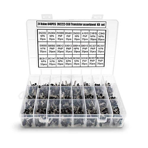 TOCYORIC 840 Stück NPN/PNP-Transistoren, TO-92 Power-Allzweck-Transistoren-Sortiment, Leistung Universelle Transistoren Sortiment Kit 2N2222-BC558, 24 Arten