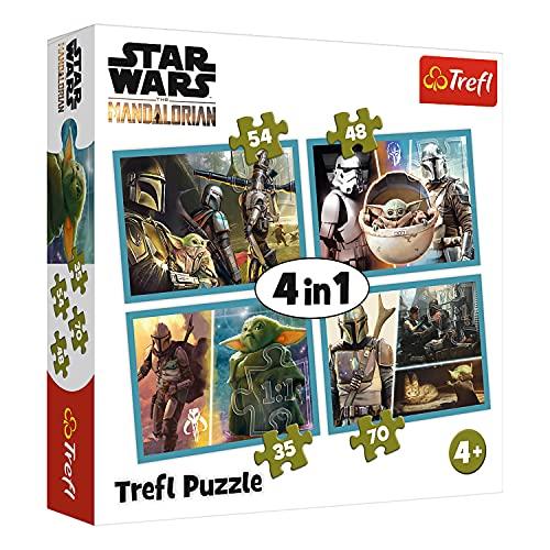 Trefl, Puzzle, Mandalorian und seine Welt, von 35 bis 70 Teilen, 4 Sets, Star Wars, für Kinder ab 3 Jahren