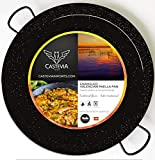 Vaello Campos Enamelled Steel Paella Pan, 38 cm, 38cm, Black