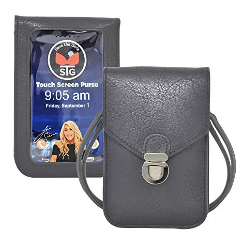 Touch Screen Purse by Lori Greiner Fits Most Smartphones – Stylish Crossbody with Shoulder Strap -RFID Keeps Cash, Credit Cards, Phone Screens Safe- Dark Grey