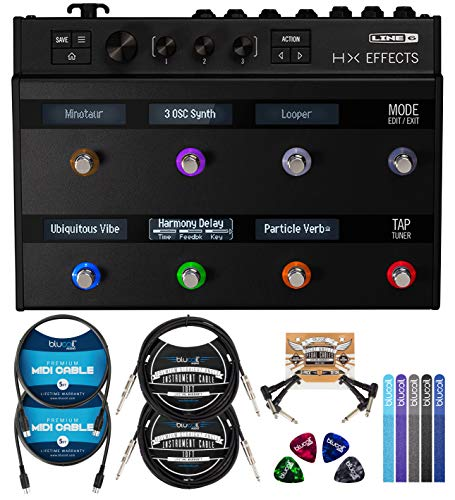 Line 6 HX Effects Processor Bundle with Blucoil 2-Pack of 10-FT Straight Instrument Cables (1/4in), 2-Pack of 5-FT MIDI Cables, 2-Pack of Pedal Patch Cables, 4x Guitar Picks, and 5x Cable Ties