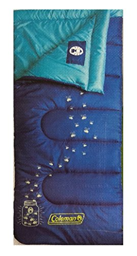 Coleman Sleeping Bag - Lightweight, Waterproof for Adults and Kids Camping Gear Equipment, Traveling, and Indoor, Outdoor, Glow in the Dark, Blue