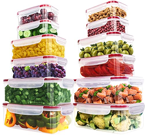 Utopia Kitchen 24 Pieces Plastic Food Containers set [12 Containers & 12 Lids] Food Storage...