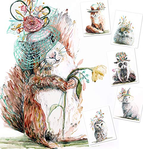 Woodland Nursery Decor for Boys and Girls(Set of 6) - 8x10 UNFRAMED Watercolor Prints