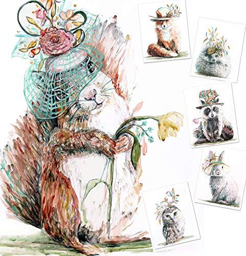 Woodland Animal Nursery Decor (Set of 6) - 8x10 UNFRAMED Watercolor Prints of Woodland Nursery Decor, Baby Animal Pictures for Nursery. Girls Nursery Decor of Animal Art Prints for Nursery Wall Art