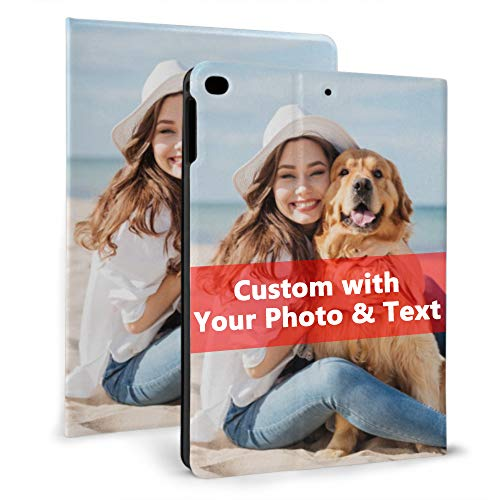 Personalised Tablet Case for iPad 9.7'' (2018/2017 Model, 6th/5th Generation), iPad Air 1/2 with Auto Sleep/Wake Custom Photo Cover with Your Picture Text Customisable Gifts for Birthday Anniversary