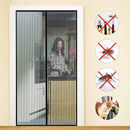 Zanzariera Magnetica Porta Finestra 175x250cm, Resistente Traspirante Tenda Zanzariere, Chiuso automaticamente Pieghevole, Easy to Install, Adatto per Porte Fino a - Nero