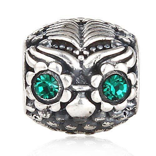 Big Eyed Owl Charm 925 Sterling Silver Bird Charm Wisdom fit Pandora Style Bracelet for Owl Lover (Green)