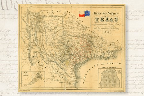 1849 HISTORIC MAP OF REPUBLIC OF TEXAS POSTER german topographic 24X36