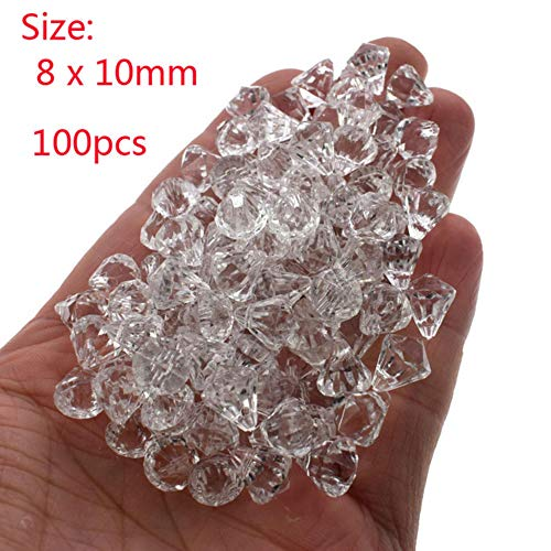 MFKW Witte kleine acryl diamant edelstenen  facet geslepen parels tafel vaas vulpen kristal piraat edelsteen schatkist sieraden party decoratie 8x10mm