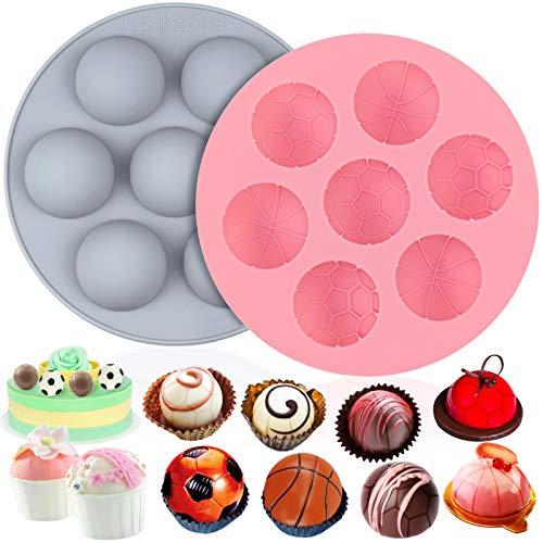 Palksky 2 Packungen Kugel-Schokoladenform, Silikon Halbkugelformen für heiße Schokolade, Kakaobomben, antihaftbeschichtet, Halbkugel-Backform, Basketball-Kuchen, Fußball-Mousse, Dessert, Gelee-Pudding
