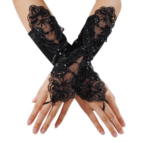 KINGSO Paar sexy Damen Fingerlose Handschuhe Spitze Gothic Hochzeit Braut Abend Teil Satin Elegant schwarz