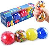 KELZ KIDZ Durable Large Squishy Water Bead Stress Balls (4 Pack) - Great Sensory Toy for Anxiety Relief for Children and Adults - Helps Calm Kids with ADHD & Autism