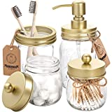 AOZITA Mason Jar Bathroom Accessories Set 4 Pcs - Mason Jar Soap Dispenser & 2 Apothecary Jars & Toothbrush Holder - Rustic Farmhouse Decor, Bathroom Home Decor, Countertop Vanity Organize - Gold