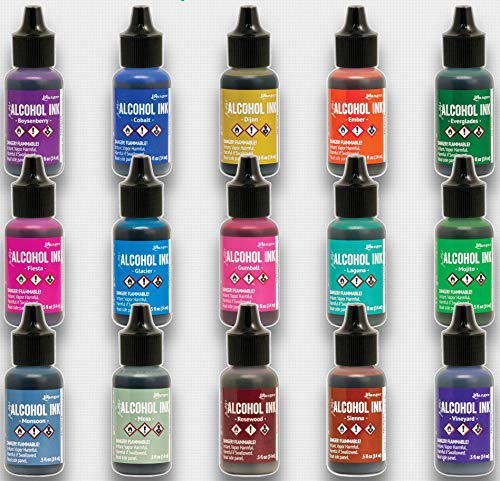 Ranger Tim Holtz New Alcohol Ink 2020 Colors with Bonus PTP Flash Deals Sticks (Complete 15 Color Set)