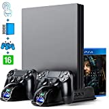My Genik Fan Cooler for Regular PS4/ PS4 Slim/ PS4 Pro,Multifunctional Vertical Cooling Stand, Charger for PS4 Controller with LED Indicators,USB Fast Charging Dock Station with 12PCS Games Storage