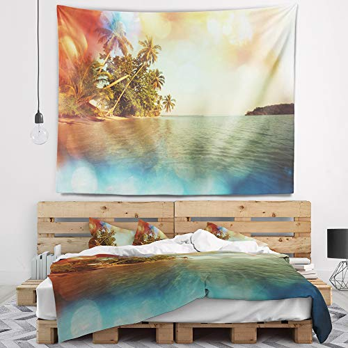 Designart Serene Tropical Beach With Palms Seashore Tapestry Blanket D Cor Wall Art For Home And Office Created On Lightweight Polyester Fabric X Large 80 In X 68 In Shefinds