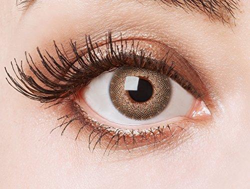 aricona Kontaktlinsen Farblinsen N°558 - Farbige 12-Monats Kontaktlinsen Paar ohne Stärke, weich und angenehm zu tragen, Wassergehalt: 42%, Diamonds Are Forever, Farbe:Braun