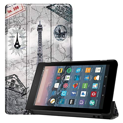 Weichunya For Amazon Fire 7 Inch (7th/8th Gen, 2017/2019 Release) Owl Butterfly Flower Dandelion Eiffel Tower Design Smart Tablet Case Trifold Stand With Auto Sleep/Wake Function (PATTERN : 3)