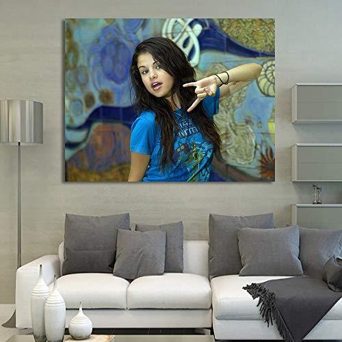 zhuziji DIY Pintar por números Imagen de la Obra de la Cantante Selena Gomez, Estilo nórdico Pintura de Lienzo por números para Adultos con Pincel y Pintura acrílica, p30x40cm(Sin Marco)
