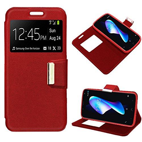 iGlobalmarket BQ Aquaris V Plus/VS Plus, Funda con Tapa, Apertura Lateral Tipo Libro, Cuero PU, Color Rojo