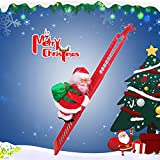 Santa Claus Climbing Ladder, Funny Electric Santa Claus Climbing Rope Ladder Decoration with Music, Santa Doll Toy Christmas Tree Hanging Ornament for Party Home Door Wall Decor